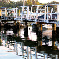 Jetty at dawn on Noosa River.