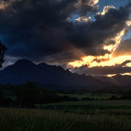 Sun setting over Mt Barney.