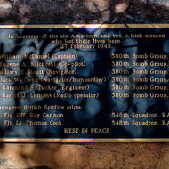 Memorial plaque located at B24 Liberator bomber, Beautiful Betsy, crash site.