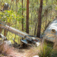 Upturned tail section from crashed B24 Liberator bomber, Beautiful Betsy.