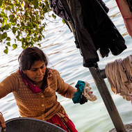 Washing clothes in Lake Pichola.