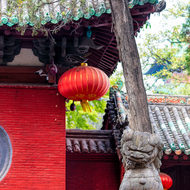 Male lion in front of Shaolin Temple.