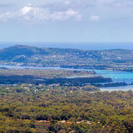 Panorama of the Noosa River from Mt Tinbeerwah.